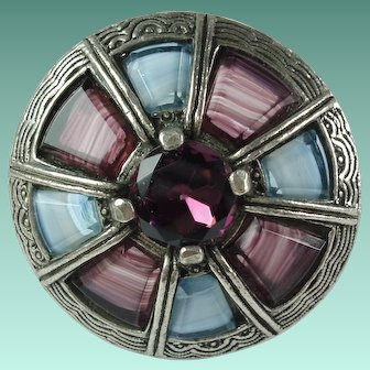 Vintage Celtic Purple Glass Brooch Signed Miracle Britain