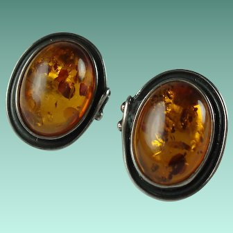 Vintage Cognac Baltic Amber Sterling Silver Pierced Earrings