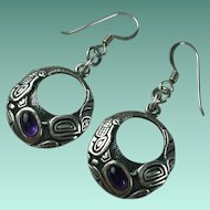 Vintage Sterling Silver Amethyst Earrings First Nations Richard Shorty
