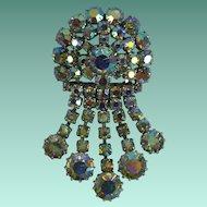 Vintage Aurora Borealis Crystal Rhinestone Dangly Brooch