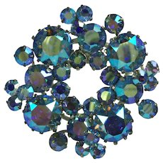 Vintage Triad Blue Aurora Borealis Rhinestone Brooch