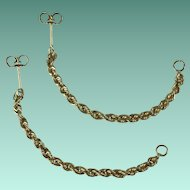 Vintage 14 Karat Yellow Gold Dangling Rope Design Earrings