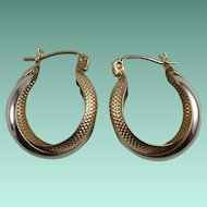 Vintage 10 Karat Gold Hoop Pierced Earrings