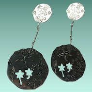 Sterling Silver Garden Theme Earrings by Esty for Birks