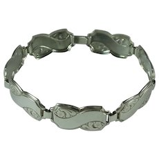 Vintage Forget-Me-Not 835 Silver Link Panel Sweetheart Bracelet