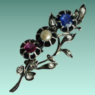 Antique Rose Cut Diamonds, Ruby, Pearl, Sapphire Gold and Silver Bouquet Brooch Circa 1840