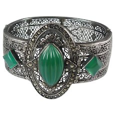 Art Deco 1930s Sterling Silver Filigree Hinged Wide Bangle Bracelet