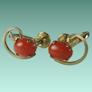 Vintage Genuine Red Coral Gold Plated Earrings