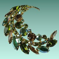 Vintage Large Sherman Green Austrian Crystal Rhinestone Crescent Shaped Brooch