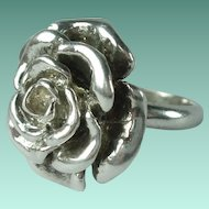 Vintage Sterling Silver Rose Ring - Size 7