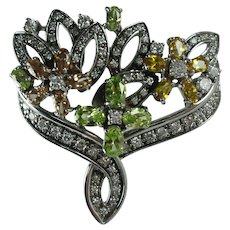Vintage Sterling Silver Cubic Zirconia Bridal Bouquet Brooch Made in Italy