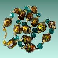 Vintage Art Deco Foiled Glass Bead Necklace