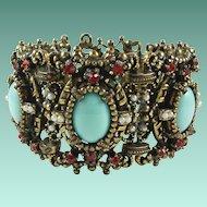 Vintage Red Rhinestone Blue Cabochon Wide Statement Bracelet