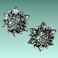 Vintage Designer St John Crystal Rhinestone Snowflake Earrings
