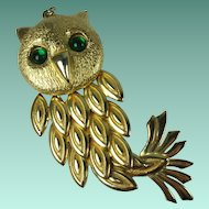 Vintage 1970s Large Articulated Owl Pendant