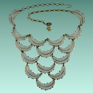 Vintage Vendome White Feather Design Bib Necklace