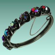 Vintage Florenza Red Aurora Borealis Rhinestone Hinged Bangle Bracelet