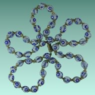 Vintage Venetian Millefiori Royal Blue Glass Bead Necklace