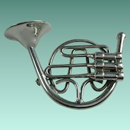 Vintage French Horn Instrument Brooch