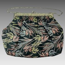 Vintage 1920s Brocade Purse With Sterling Silver Frame