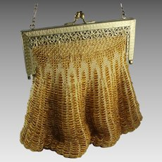 Vintage 1920s Yellow Beaded Swag Purse