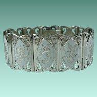 Vintage Sterling Silver White Enamel Siam Panel Bracelet