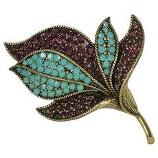 Vintage Signed Hollycraft Rhinestone Floral Brooch