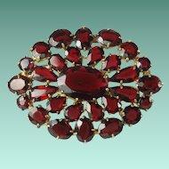 Vintage Czech Garnet Glass Brooch