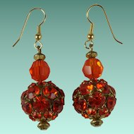 Vintage Electric Orange Rhinestone Drop Earrings