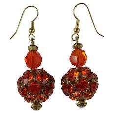 Vintage Electric Orange Rhinestone Drop Earrings