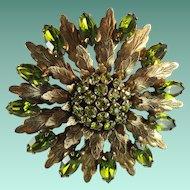 Vintage Peridot Green Rhinestone Flower Metal Leaves Large Statement Brooch