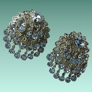 Vintage Blue Rhinestone Dangly Earrings-Book Piece