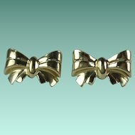 Vintage 14 Karat Yellow Gold Pierced Bow Earrings