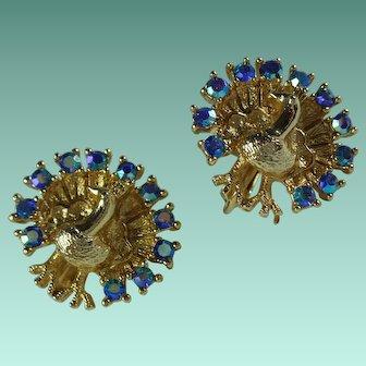 Vintage Rhinestone Peacock Clip Earrings