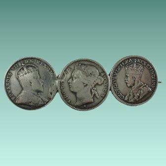 Antique Queen Victoria Three Silver Coins Brooch
