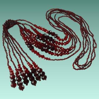 Vintage Red Crystal Bead Tassel Necklace