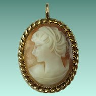 Vintage Gold Filled Carnelian Shell Cameo Pendant