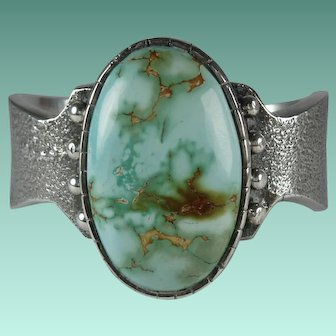Southwest Sterling Silver Royston Turquoise Cuff Bracelet Signed Noah