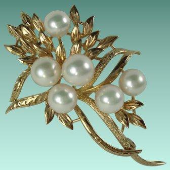 Vintage 14 Karat Yellow Gold 6 Cultured Pearls Brooch