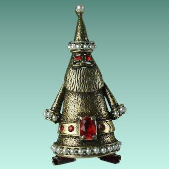 Vintage Hollycraft Santa Claus Brooch