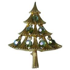 Vintage MYLU Christmas Tree Brooch Aurora Borealis Crystal Beads