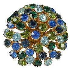 Vintage Green Blue Rhinestone Domed Brooch