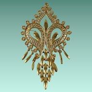 Vintage Midcentury Gold Tone Pendant Brooch