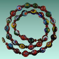 Vintage Venetian Millefiori Murano Glass Bead Necklace