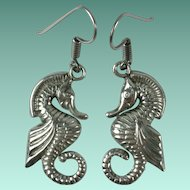 Vintage Sterling Silver Seahorse Taxco Earrings