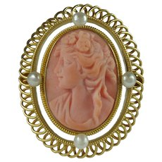 Vintage 14 Karat Yellow Gold Pink Coral Cameo Brooch