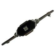 Vintage Art Deco Sterling Silver Onyx Diamond Bar Pin