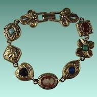 Vintage Charm Bracelet Signed Goldette