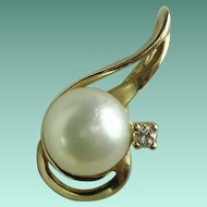 Vintage Diamond Pearl Yellow Gold Pendant
