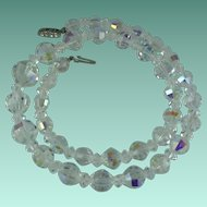 Vintage Crystal Bead Aurora Borealis Necklace